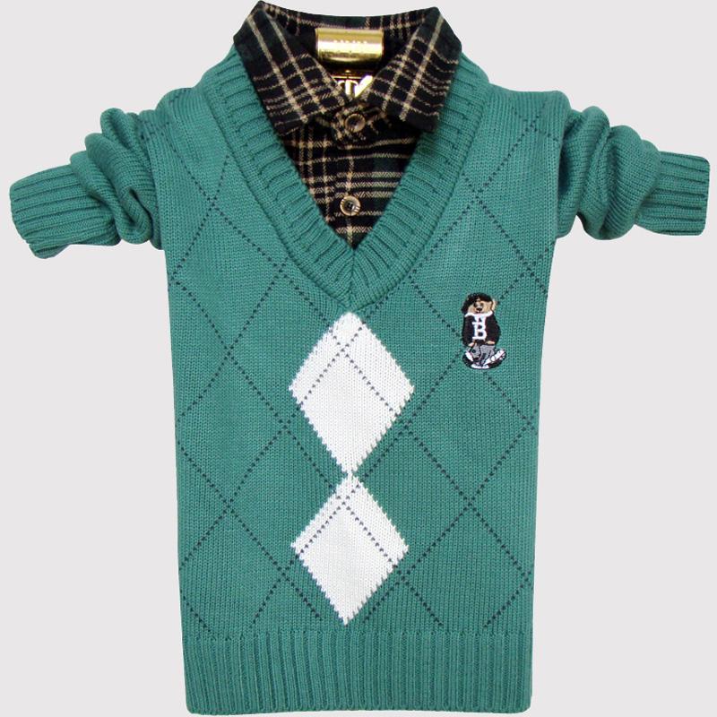 春秋冬新款童装宝宝线衣中小儿童针织衫孩子衬衫领假两件男童毛衣