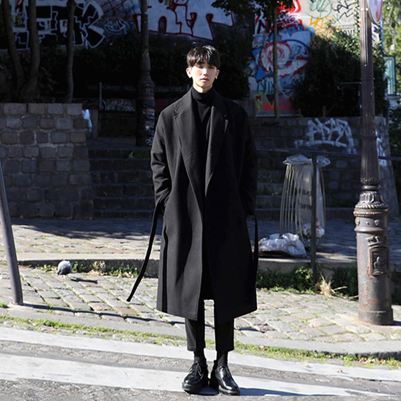日系风衣男长款加厚保暖呢大衣男潮男士宽松呢外套毛呢子韩版