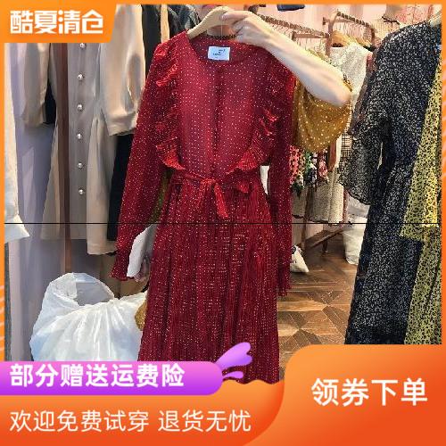 韩国东大门2019春季新款红色长袖雪纺波点印花连衣裙女气质仙女裙