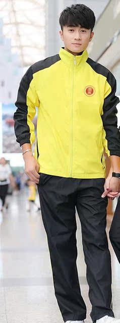 实验高级中学校服定制白色领子夏装T恤防城港市黄色高中学生冬装