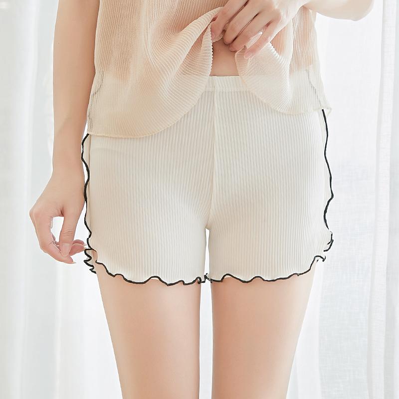 夏天安全裤女冰丝薄款防走光三分裤可外穿保险裤宽松条纹打底短裤