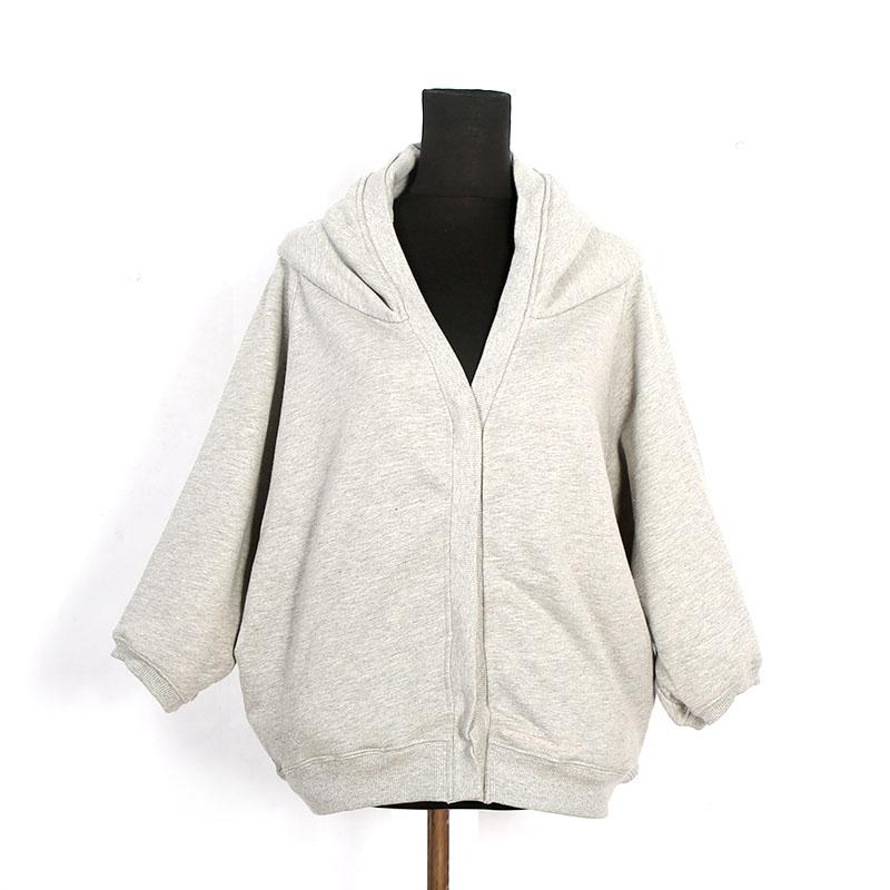 春秋款毛圈韩版宽松显瘦单排暗扣卫衣外套女装简约时尚中袖外套潮