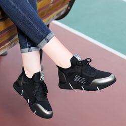 黑色运动鞋韩版百搭真皮女鞋子2018秋季新款内增高学生鞋休闲跑步
