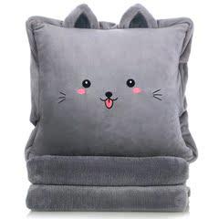 抱枕被子两用办公室午睡枕暖手毯子三合一汽车靠垫猫咪靠枕空调被