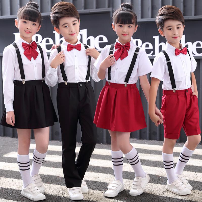 儿童演出服男女童背带裤长袖中小学生幼儿园合唱主持朗诵表演服装