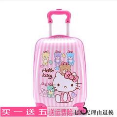 包邮儿童拉杆箱 kitty登机箱18寸旅行箱行李箱竖条万向轮女孩书包