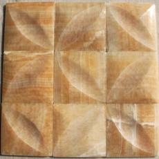 Natural marble beige topaz rosin stone mosaic jigsaw TV background wall unique groove design
