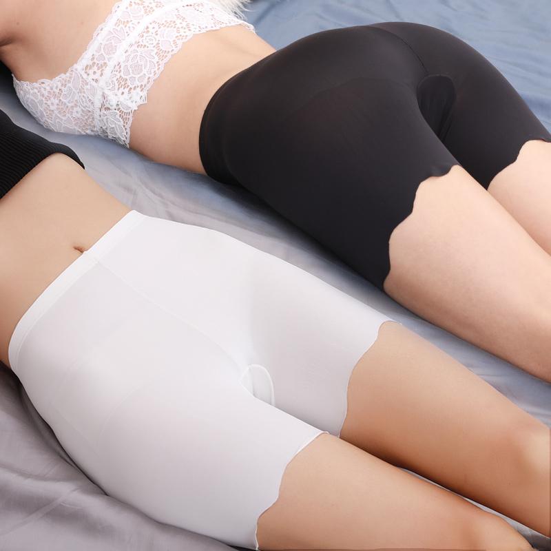 无痕冰丝安全裤防走光女夏季薄款可内外穿打底裤大码三分裤胖mm裤