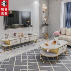 Post-modern TV cabinet coffee table combination modern minimalist marble TV cabinet small apartment IKEA light luxury TV cabinet