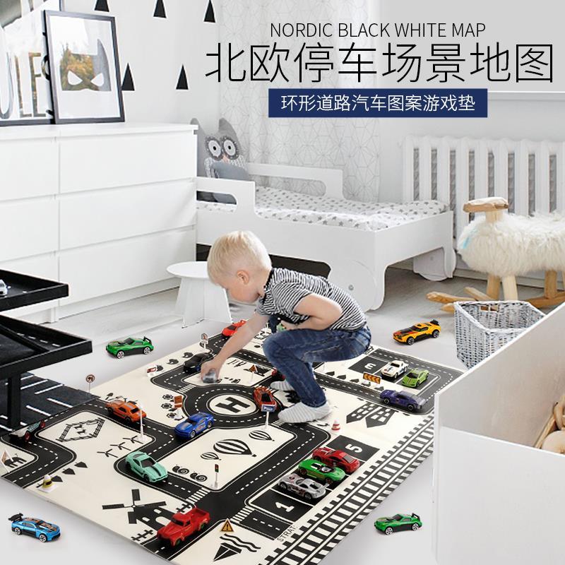 儿童玩具车城市停车场景图交通路标地图马路道路汽车模型游戏地垫