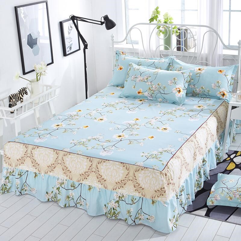 加厚床裙单件防滑涤纶裙边涤纶1.5m床罩双人1.8x2.0m米床垫套