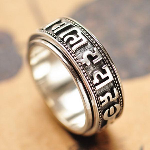 s925纯银饰品 复古泰银 六字真言转运情侣戒指