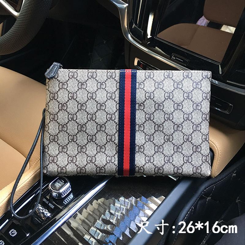 2018春夏新款PVC时尚大容量手拿包男包彩带包休闲包信封钱包包邮