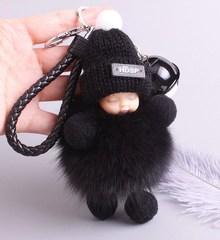 可爱女车钥匙扣韩国手工情侣公仔毛绒链小书包挂件圈环个性男
