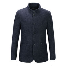 E56.Bird's autumn and winter men's woolen jacket Business casual single-breasted fur coat coat 73221