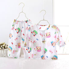 Summer children's cotton silk pajamas suit baby cotton silk baby infant long-sleeved thin models home service baby clothes female