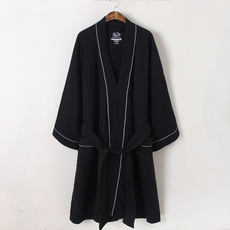 2018 spring and summer summer long-sleeved cotton couple robe solid color bathrobe men and women cotton waffle absorbent bathrobe winter