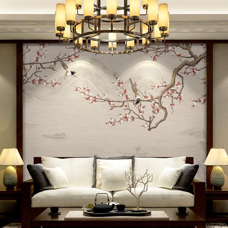 电视机背景墙壁纸 中式客厅影视墙古风梅花墙纸定制壁画无缝墙布