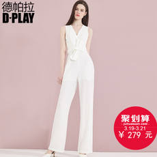 D-PLAY2018 spring and summer European and American white V-neck sleeveless jumpsuit waist bow long waist wide leg pants