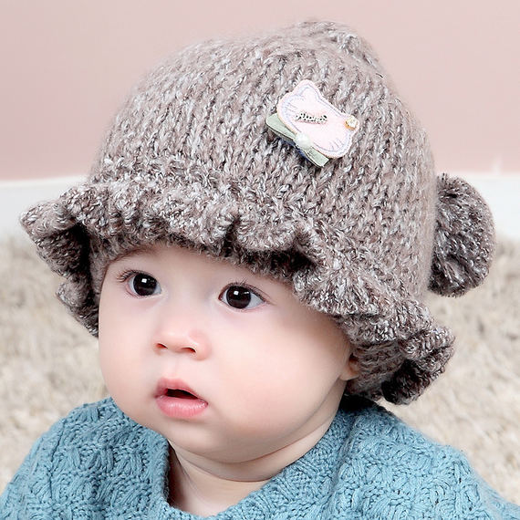 Baby hat earmuffs 0-1-2 years old boys and girls baby knitted wool hat 6-12 months princess autumn and winter