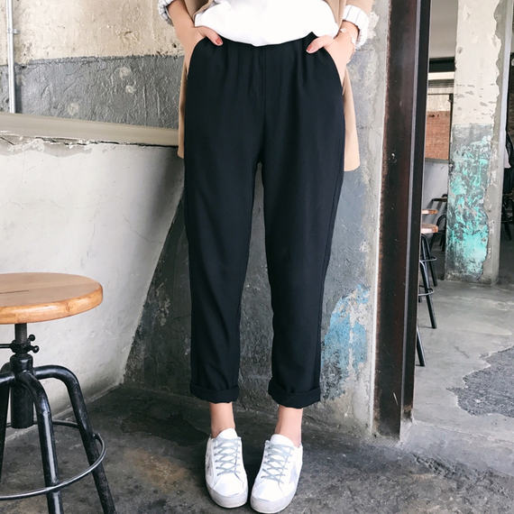 New black pants ladies loose casual summer early autumn new high waist feet straight nine points Harlan carrot pants