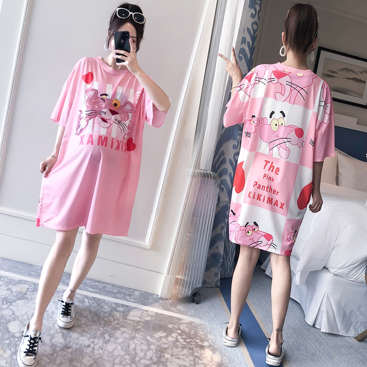 孕妇夏装短袖T恤2019新款韩版时尚亮片卡通连衣裙印花中长款上衣