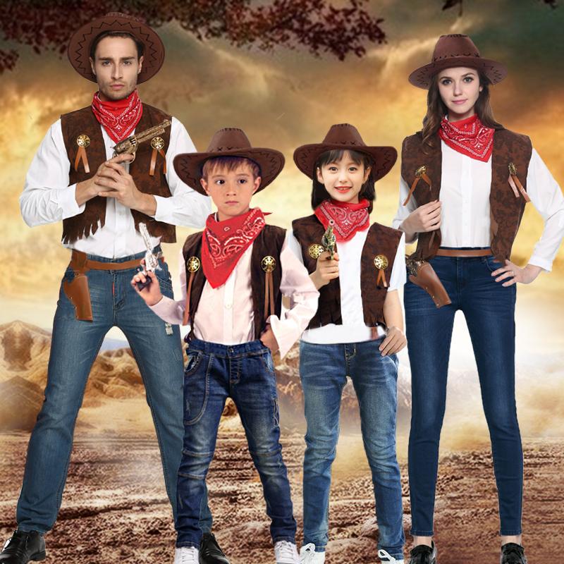 万圣节表演亲子家庭西部牛仔套装COS牛仔表演化妆装扮演出服