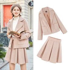 MG baby elephant fashion woolen coat female student high waist half-length skirt 2018 new loose casual woolen coat