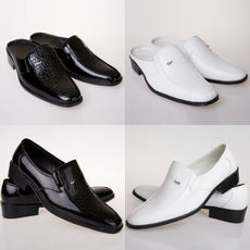 Black Men's Leather Slippers Theatrical Singing Shoes Studio Photographic Shoes Fitting Room Shoes British Clothing Store