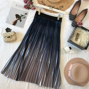 陈米米19年春季新款女装法式浪漫渐变海洋蓝百褶半身裙A字中长裙