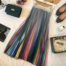 Chen Mi Mi 18 years autumn and winter new women's retro hipster rainbow color gradient satin pleated skirt a word skirt
