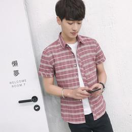 夏季短袖格子衬衫男士修身韩版青年休闲纯棉格子青少年学生衬衣潮