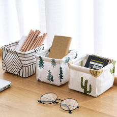 Home home Cotton and linen desktop storage box desk stationery storage basket Dressing table cosmetic debris finishing box
