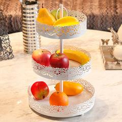 创意果盘欧式客厅水果篮铁艺水果果篮三层果篮大号花篮家居装饰蓝