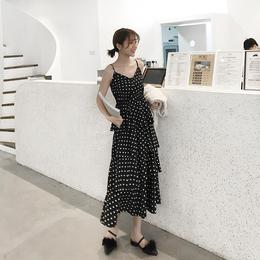 六公主2019春装新款气质v领波点吊带裙高腰雪纺连衣裙蛋糕裙长裙