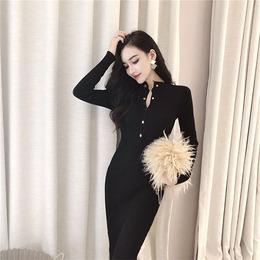 包臀长袖连衣裙2018秋冬新款韩版时尚中长开叉单排扣打底修身显瘦