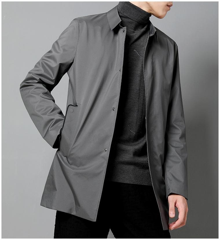 品质做工系压胶工艺男风衣夹棉简约翻领修身中长款风衣外套男薄