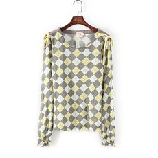 Fen series spring and autumn counters brand women's yellow plaid round neck home service underwear 50337