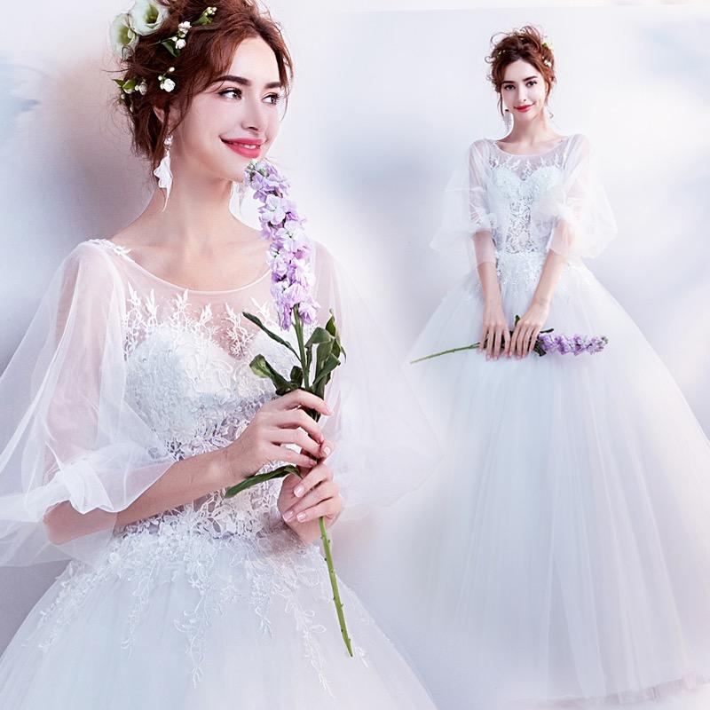 出租天使嫁衣仙仙喇叭袖清纯气质公主新娘春季长袖婚纱礼服白色女