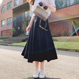夏季半身裙女中长款2019新款高腰复古a字裙ins超火的长裙黑色裙子
