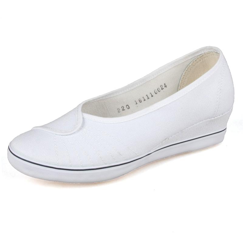 青岛环球国途中跟坡跟 护士鞋 绘画鞋 休闲布鞋 牛筋 白色 小白鞋