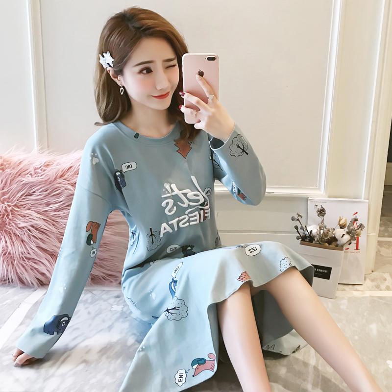 2018夏季新款女士卡通小清新学生睡裙中长款宽松纯棉吊带睡衣薄款