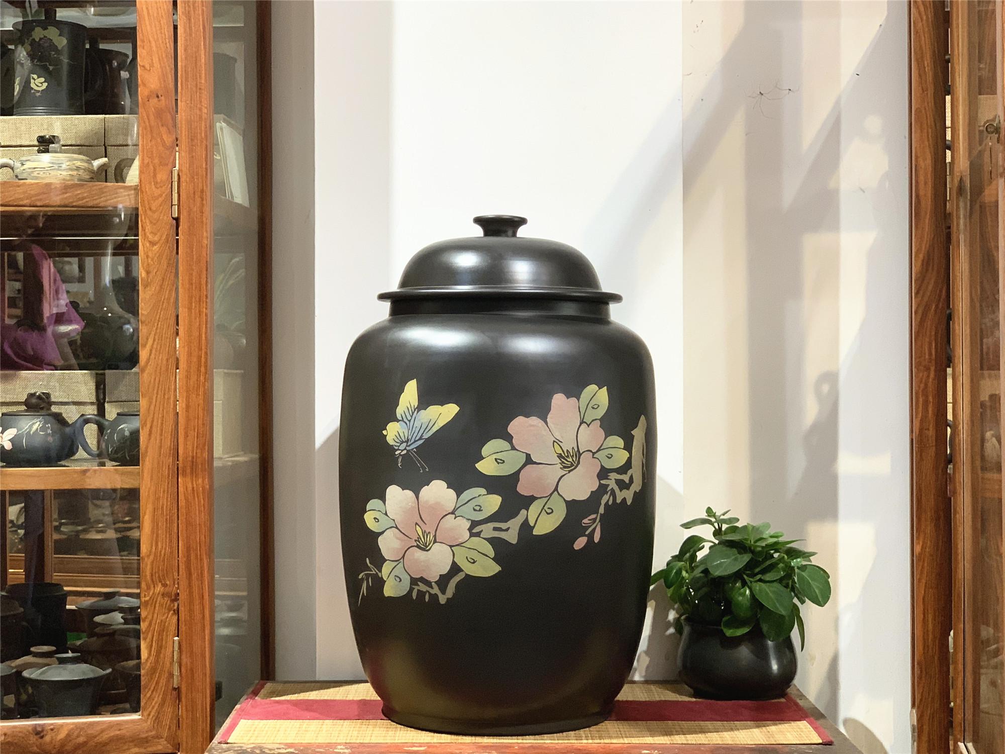云南建水紫陶水缸家用储水缸大号小号储茶缸存茶缸非紫砂全手工拉