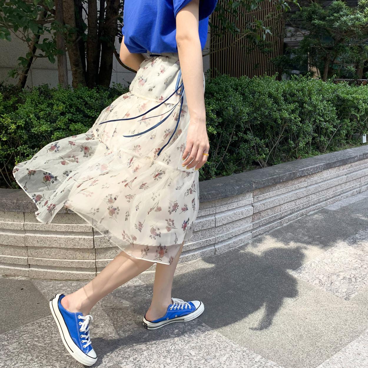 花栗鼠小姐 穿上想转圈圈 甜美时髦网纱丝带仙女半身蓬蓬裙