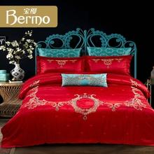 宝缦专柜大红色刺绣结婚十件套男女新婚婚庆床上用品 我家有喜图片