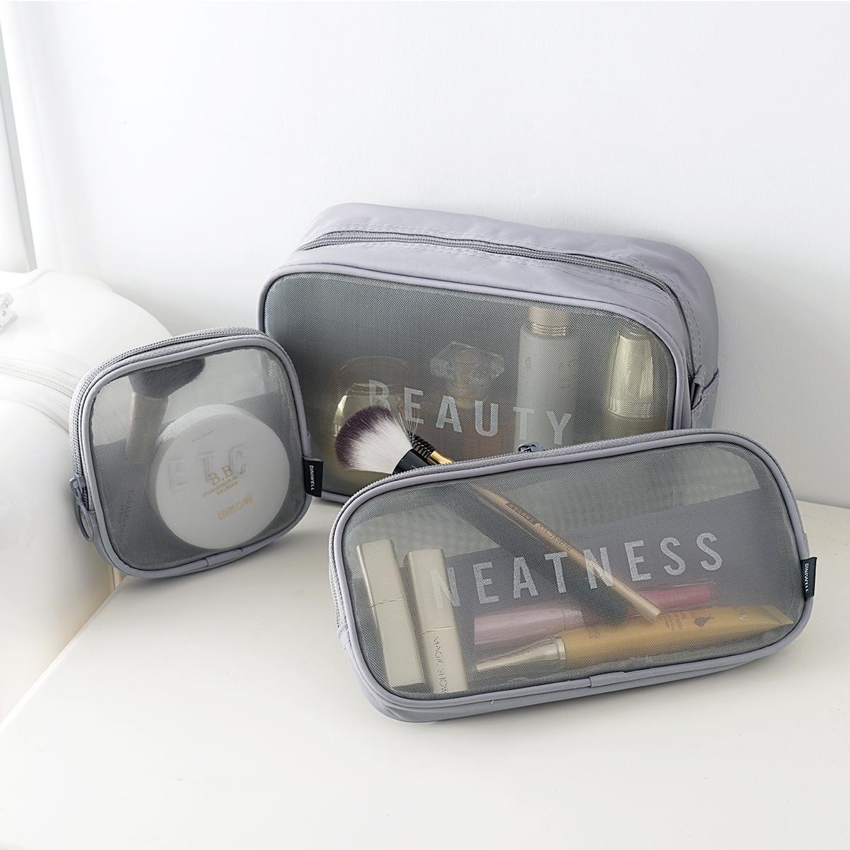 韩国化妆包男女士旅行洗漱包大容量手拿包小号网纱透明便携收纳袋