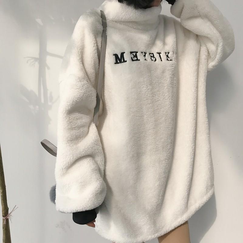2018秋冬新款韩版中长款字母刺绣高领保暖毛毛上衣女撞色套头外套