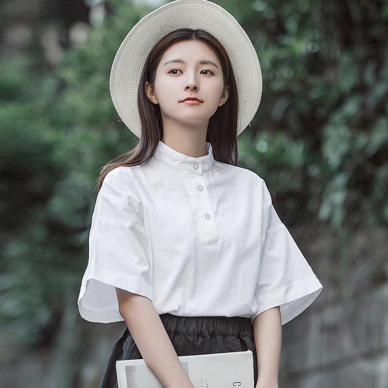 角舍五分袖立领白衬衫女学生清新宽松学院风甜美复古风上衣衬衣夏