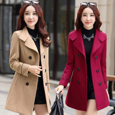 2018 autumn and winter new Korean version of the thin women's woolen coat female Slim large size long section woolen coat tide