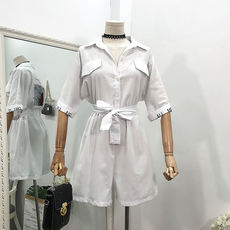 G@02 Summer Korean version of the waist with a slim lapel casual jumpsuit shorts wide leg pants [with belt]